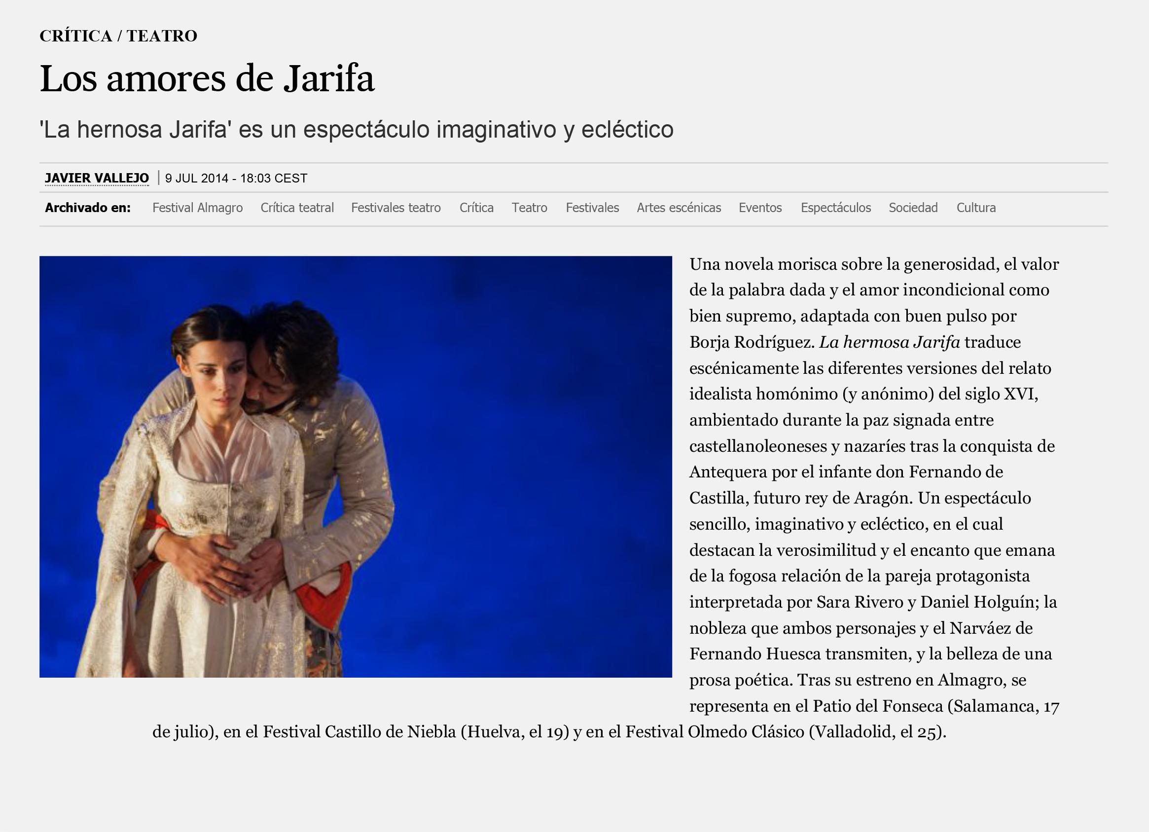Crítica de 'La hermosa Jarifa': Los amores de Jarifa | Babelia