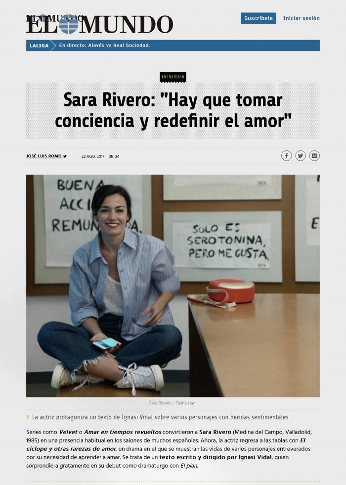 SARA RIVERO, ACTRIZ, SERIES, CINE,TV,TELEVISION, REVELACION, TEATRO, ANTONIO ABELEDO, EL MUNDO, METROPILI, MODA, PERFORMANCE, ART,