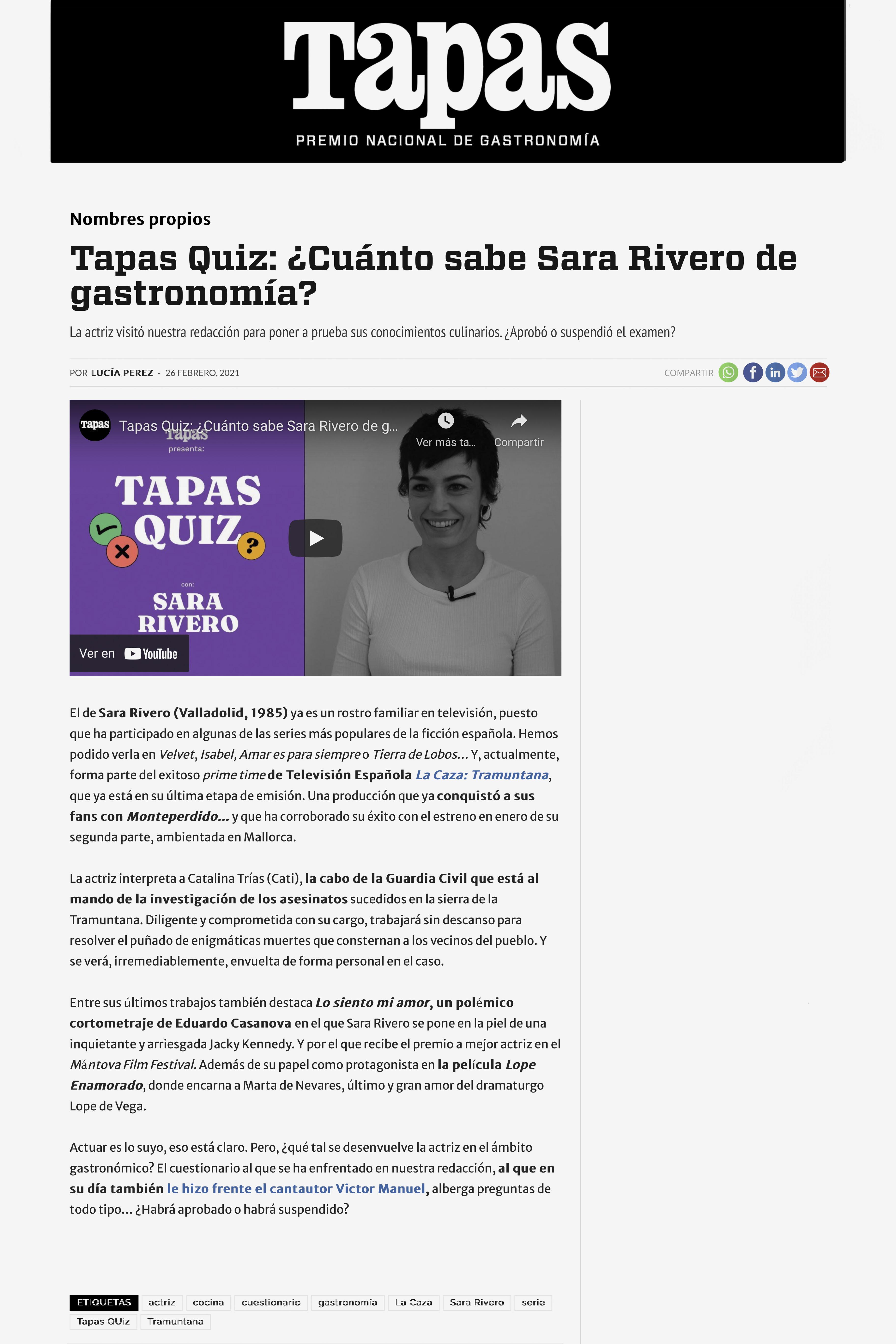 ¿Cuánto sabe Sara Rivero de gastronomía?